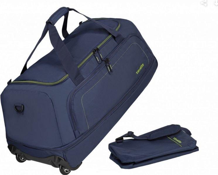 Basic torba podróżna na kółkach Travelite (składana z pokrowcem) - granatowa