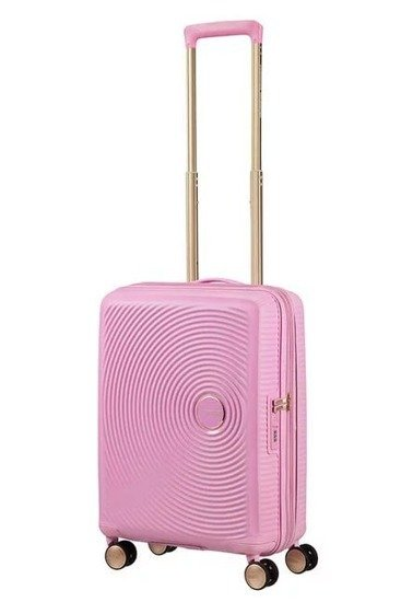 Walizka kabinowa American Tourister Soundbox 55 cm powiększana jano różowa