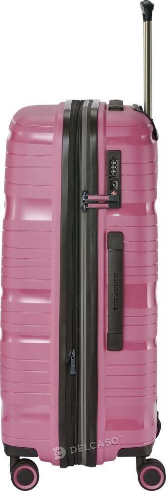 Walizka średnia - poszerzana Travelite Motion 67 cm różowa
